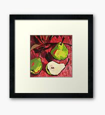 Large Green Pears on Red Framed Print