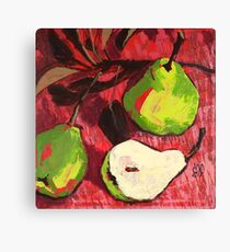 Large Green Pears on Red Canvas Print