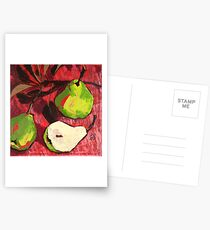 Large Green Pears on Red Postcards