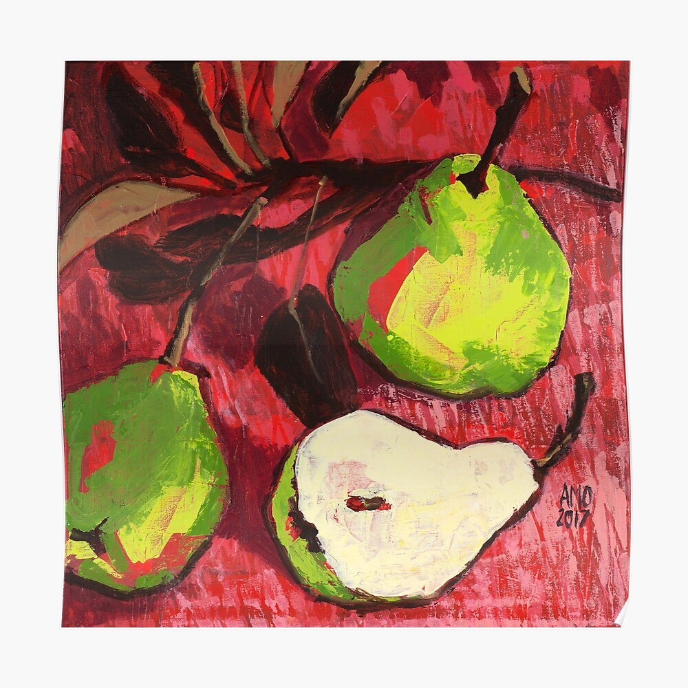 Large Green Pears on Red Poster