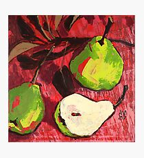 Large Green Pears on Red Photographic Print