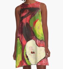 Large Green Pears on Red A-Line Dress