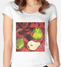 Large Green Pears on Red Women's Fitted Scoop T-Shirt