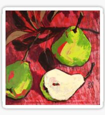 Large Green Pears on Red Sticker
