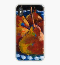 Red Pears in Blue Bowl iPhone Case