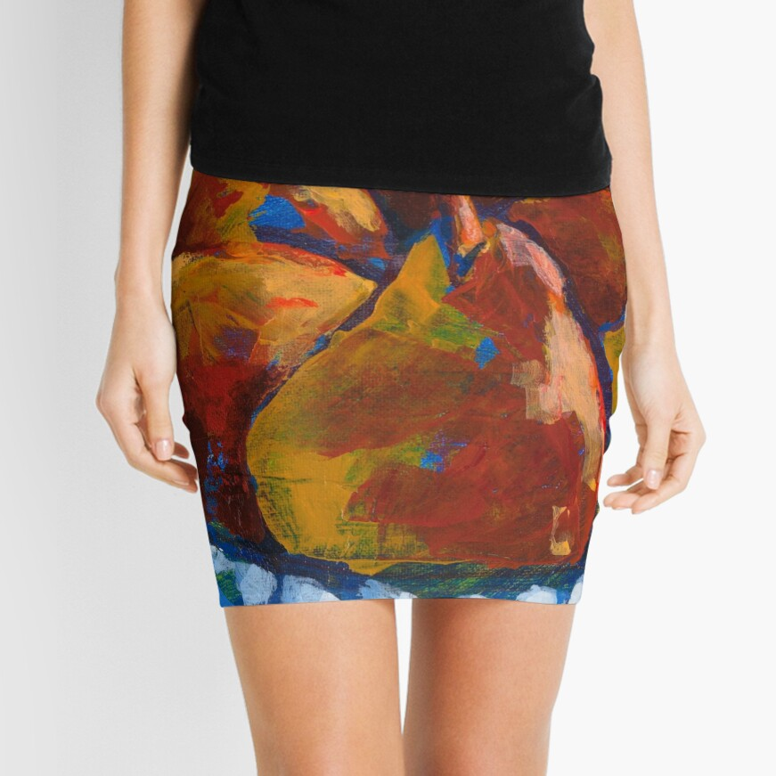 Red Pears in Blue Bowl Mini Skirt