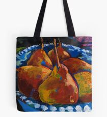 Red Pears in Blue Bowl Tote Bag