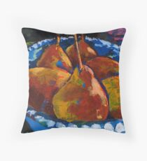 Red Pears in Blue Bowl Throw Pillow