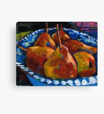Red Pears in Blue Bowl Canvas Print