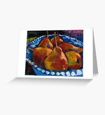 Red Pears in Blue Bowl Greeting Card