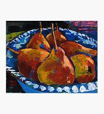 Red Pears in Blue Bowl Photographic Print