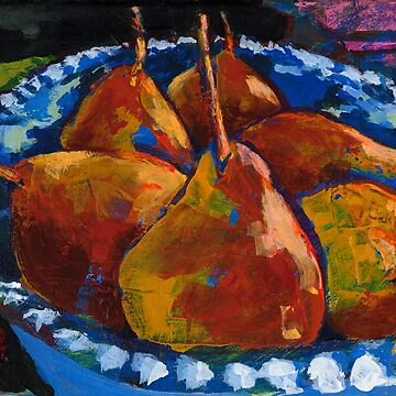 Red Pears in Blue Bowl by AMOpainting