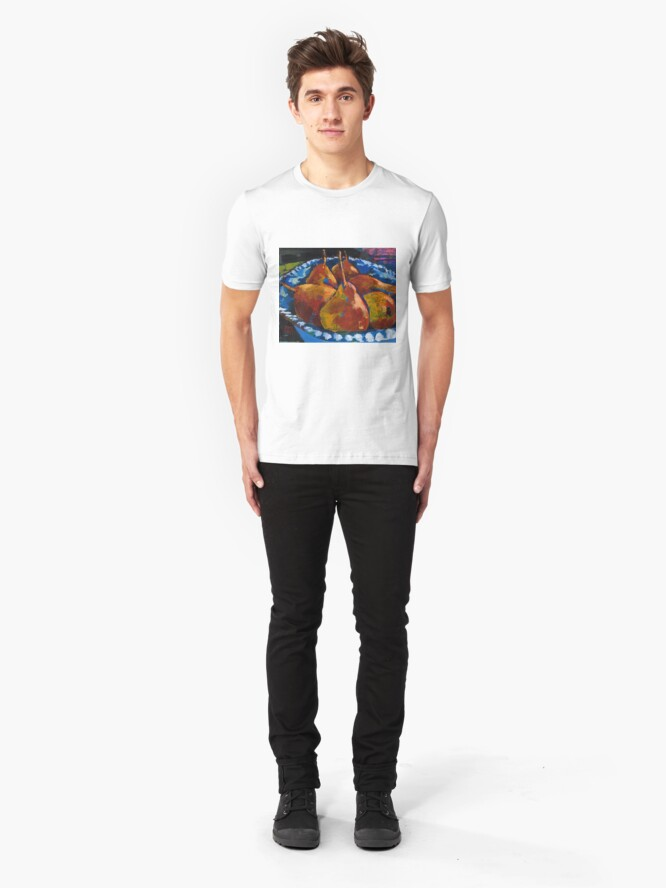 Alternate view of Red Pears in Blue Bowl Slim Fit T-Shirt
