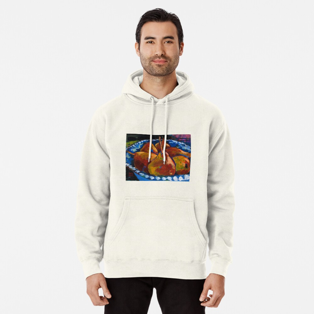 Red Pears in Blue Bowl Pullover Hoodie