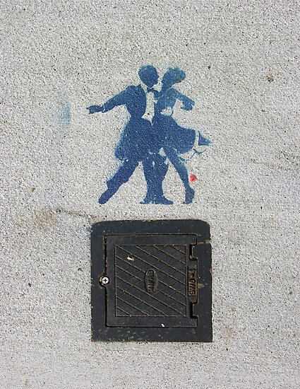 Sidewalk Dancers (stencil graffiti) by Steve Campbell