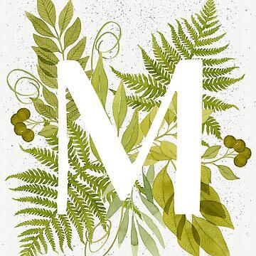 Monograma de la letra M con helecho verde acuarela y hojas de helga-wigandt