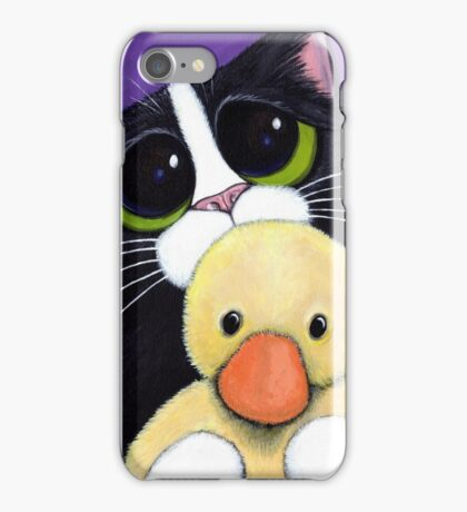 Scared Tuxedo Cat with Toy Duck iPhone Case/Skin