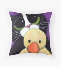 Scared Tuxedo Cat with Toy Duck Throw Pillow