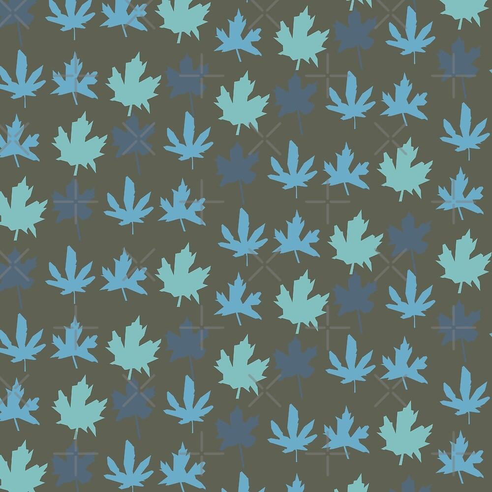 Paper Maple - Blue on Dark Gray by enlarsen