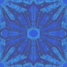 Blue shining, stylized snowflakes, abstract seamless pattern by clipsocallipso
