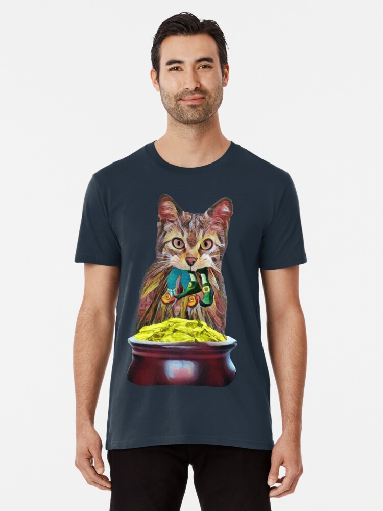 6a920281 Lucky Kitty Leprechaun Bad Luck Clover Funny St Patricks Day Premium T-Shirt