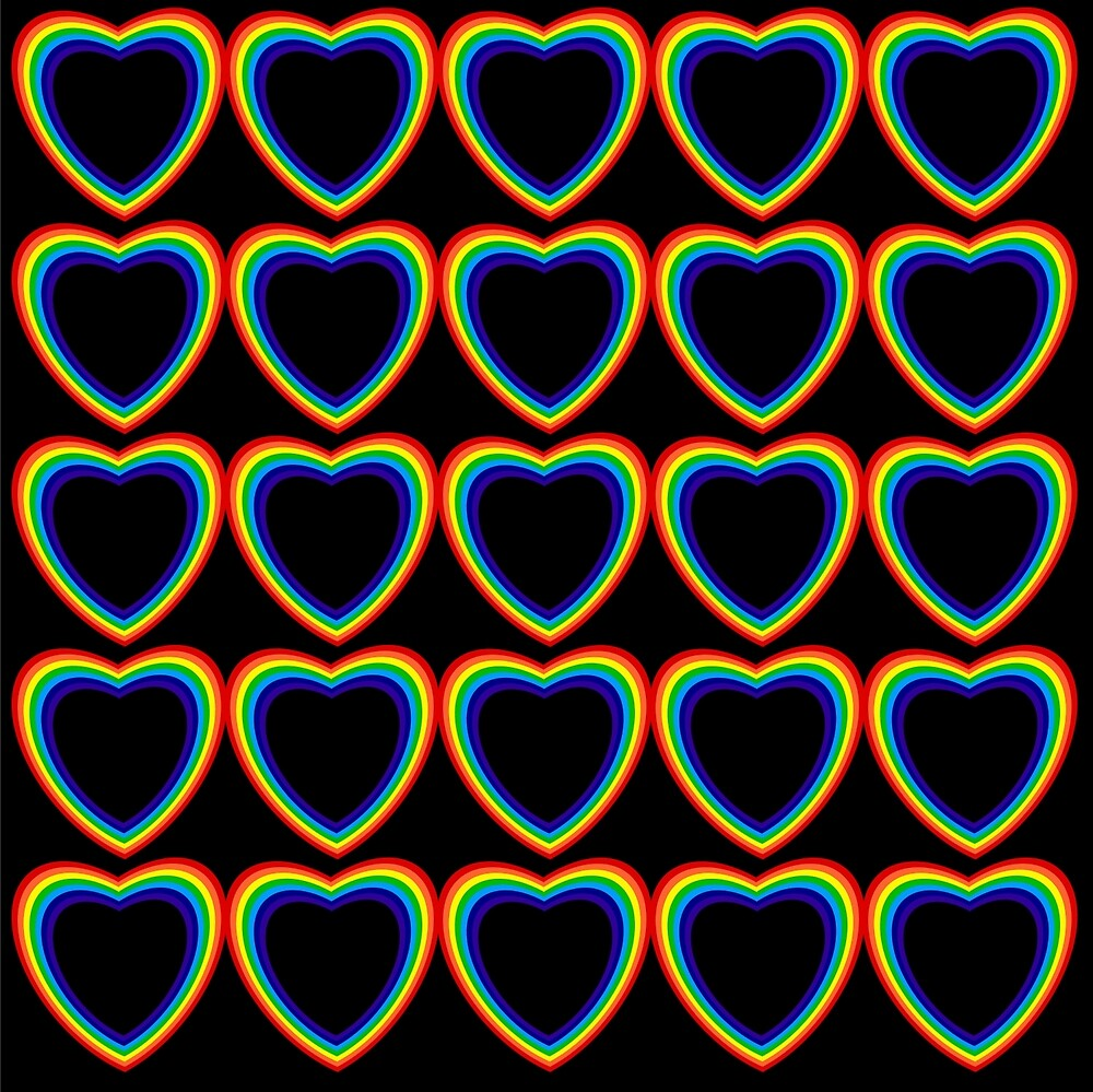 Rainbow Hearts Black Background by Terrell-ESS