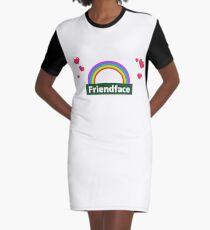 Friendface Rainbow Hearts Graphic T-Shirt Dress
