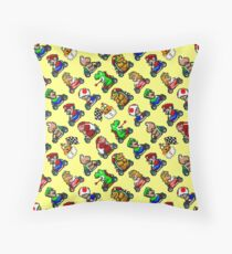 Various Super Mario Kart characters pattern YL8R Throw Pillow