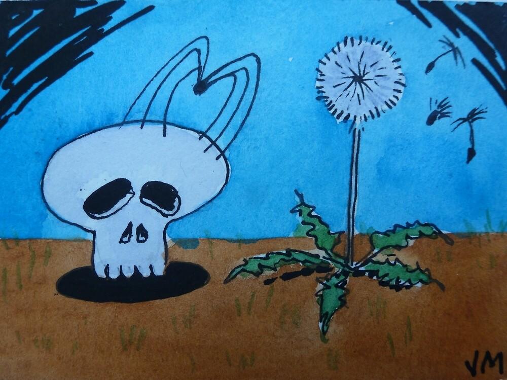 Spider & Skull,Original Artwork Miniature Card Watercolor and Ink Painting Aceo by jadlart