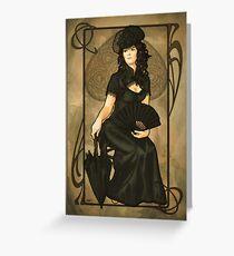 Poker Art Nouveau: 'Queen of Spades' Greeting Card