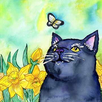 Cat With Dandelion Flowers by missmann