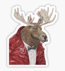 Moose in Leather Sticker