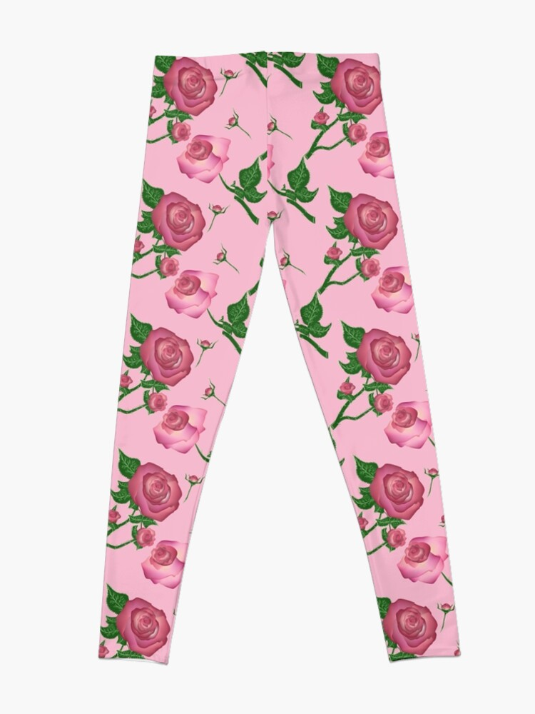03bd5d8181b6c1 Alternate view of vintage floral pattern background with pink roses Leggings