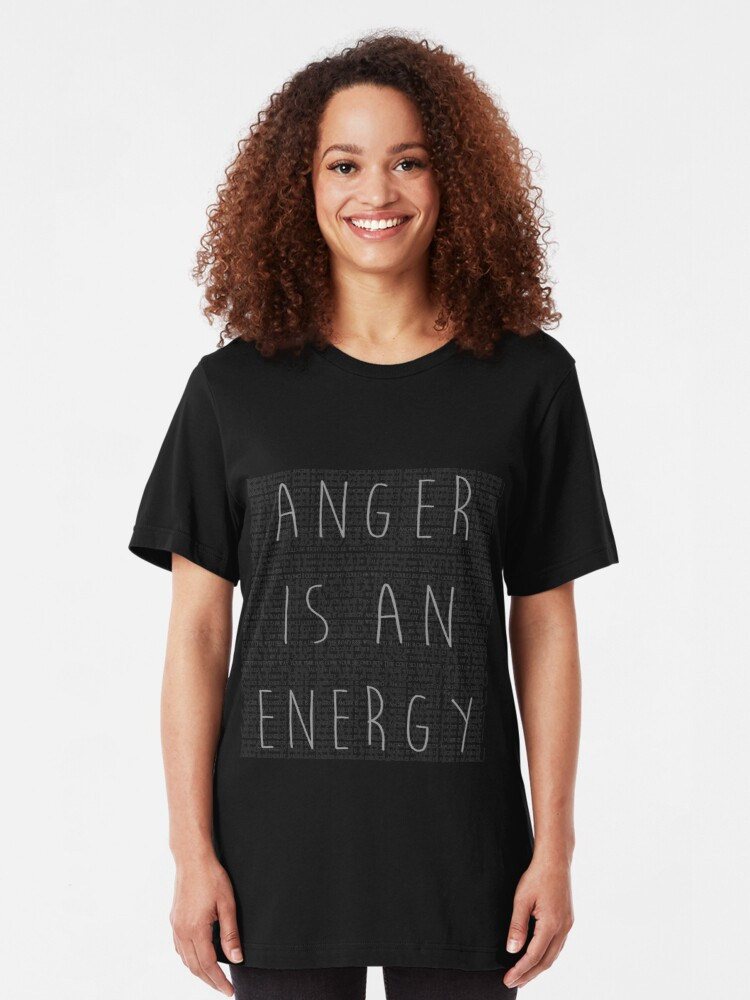 Alternate view of Anger is an Energy Slim Fit T-Shirt