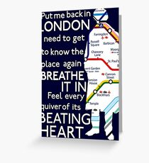 London Underground Map Sherlock Greeting Card