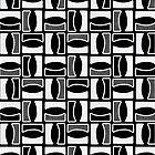 Sea Waves Mosaic - Geometric Pattern (Black) by mariomartin