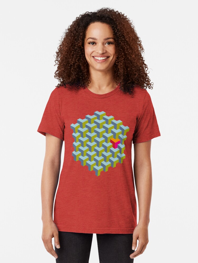 Alternate view of Be yourself - geomtric op art pattern Tri-blend T-Shirt