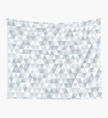 shades of ice gray triangles pattern Wall Tapestry