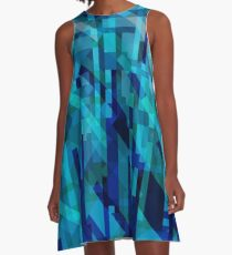 abstract composition in blues A-Line Dress