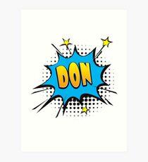 Comic book speech bubble font first name Don Art Print