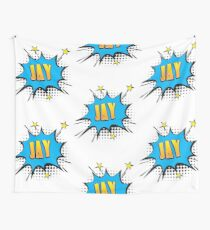 Comic book speech bubble font first name Jay Wall Tapestry