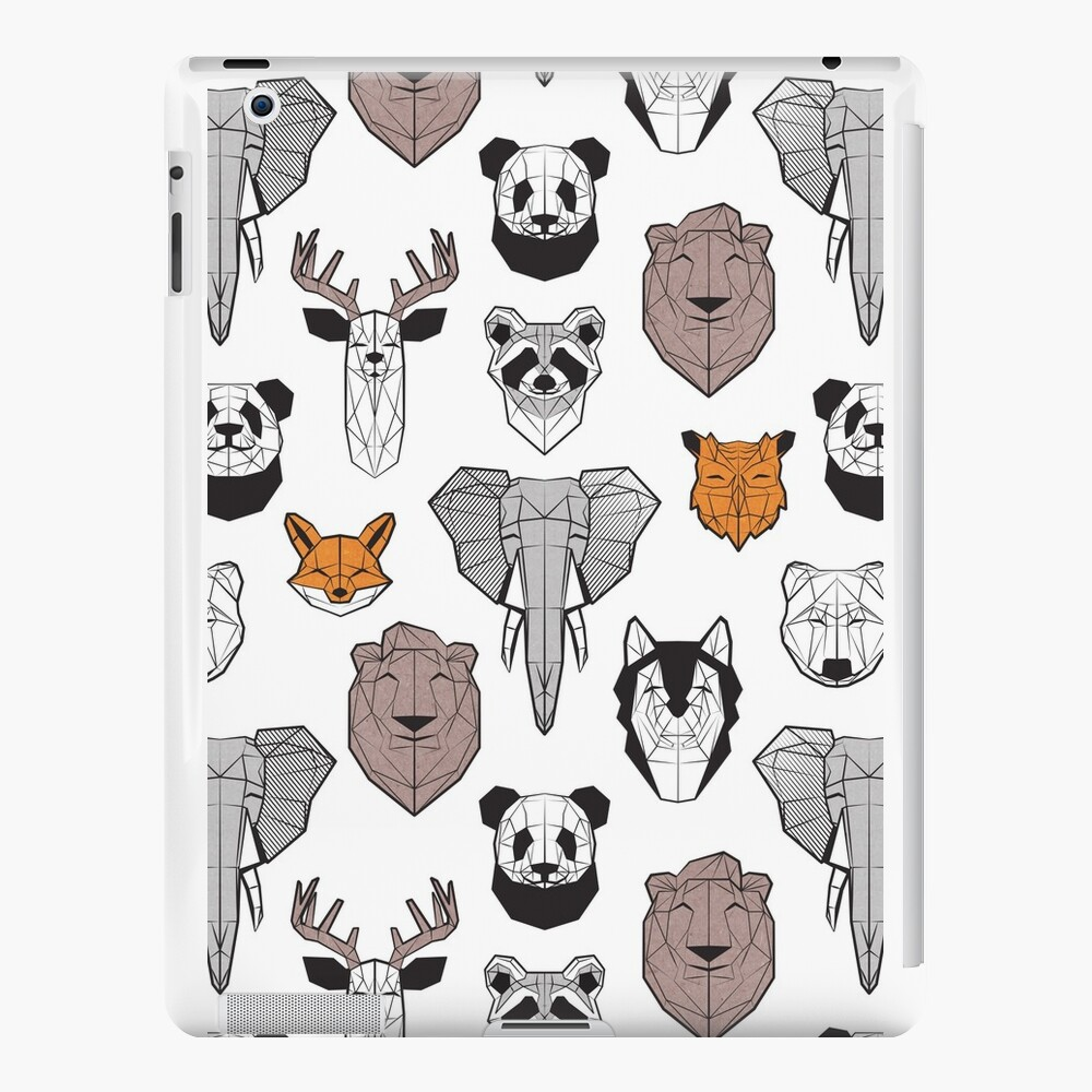 Friendly geometric animals // white background black and white orange grey and taupe brown animals iPad Cases & Skins