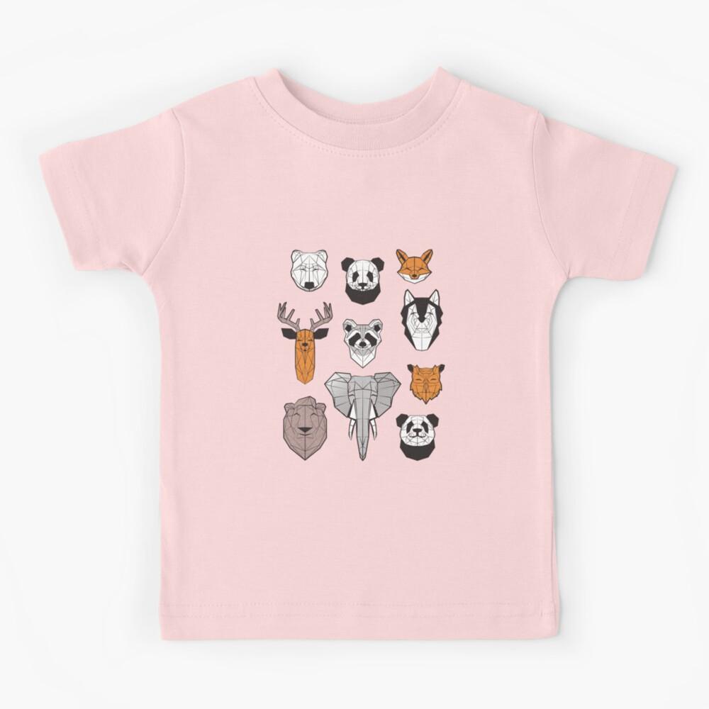Friendly geometric animals // white background black and white orange grey and taupe brown animals Kids T-Shirt