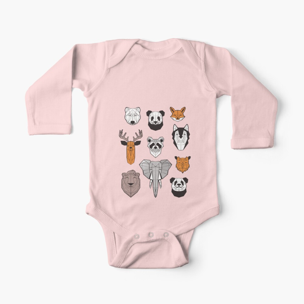 Friendly geometric animals // white background black and white orange grey and taupe brown animals Baby One-Piece