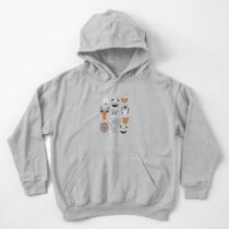 Friendly geometric animals // white background black and white orange grey and taupe brown animals Kids Pullover Hoodie