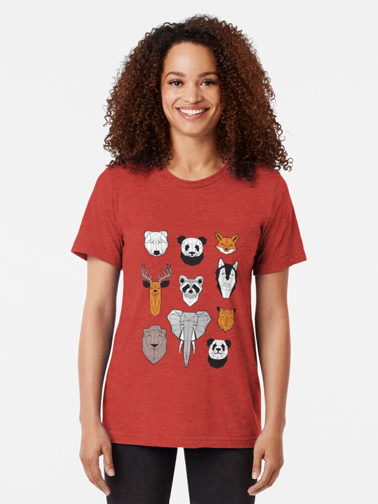 Alternate view of Friendly geometric animals // white background black and white orange grey and taupe brown animals Tri-blend T-Shirt