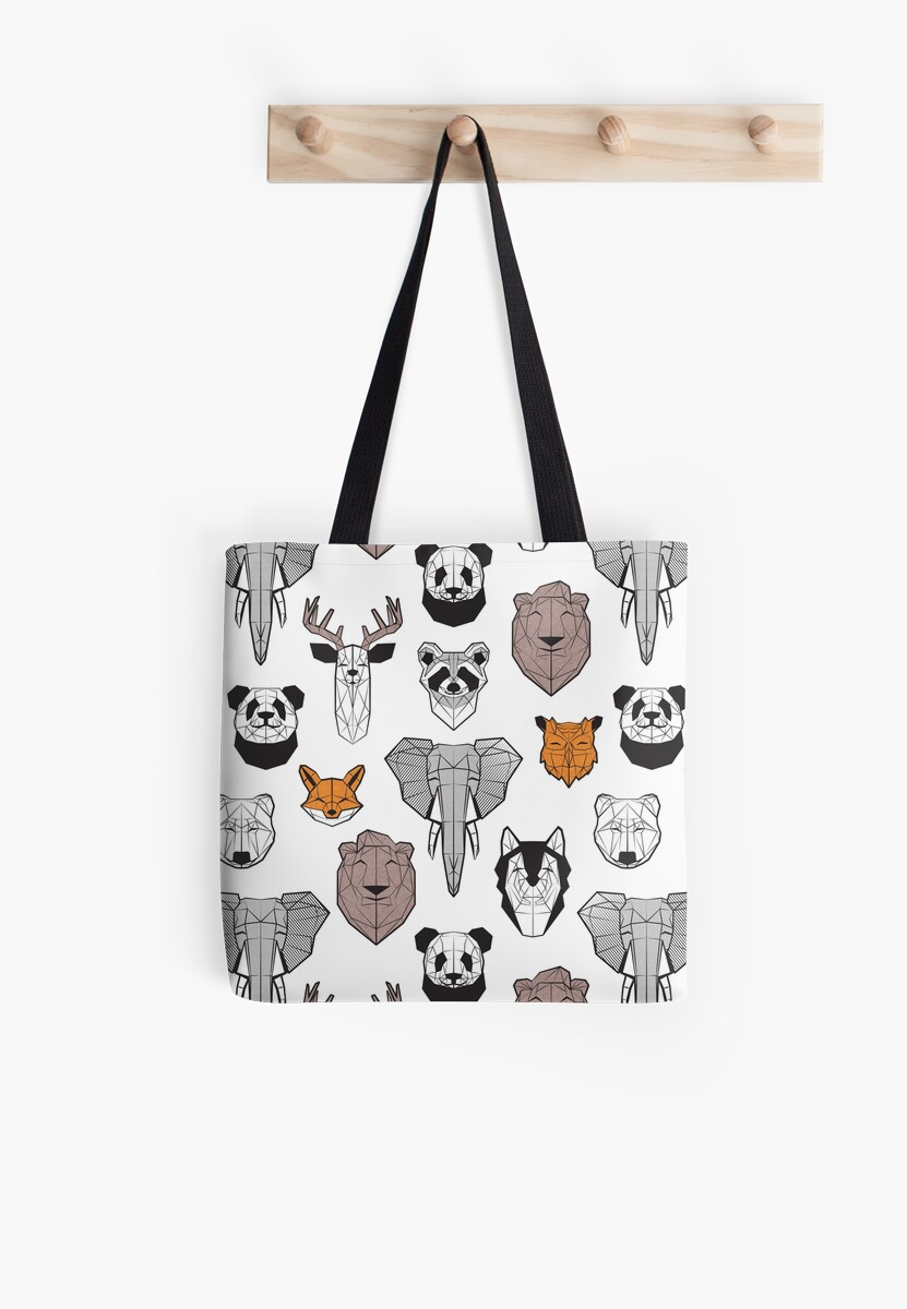 Friendly geometric animals // white background black and white orange grey and taupe brown  Tote Bag