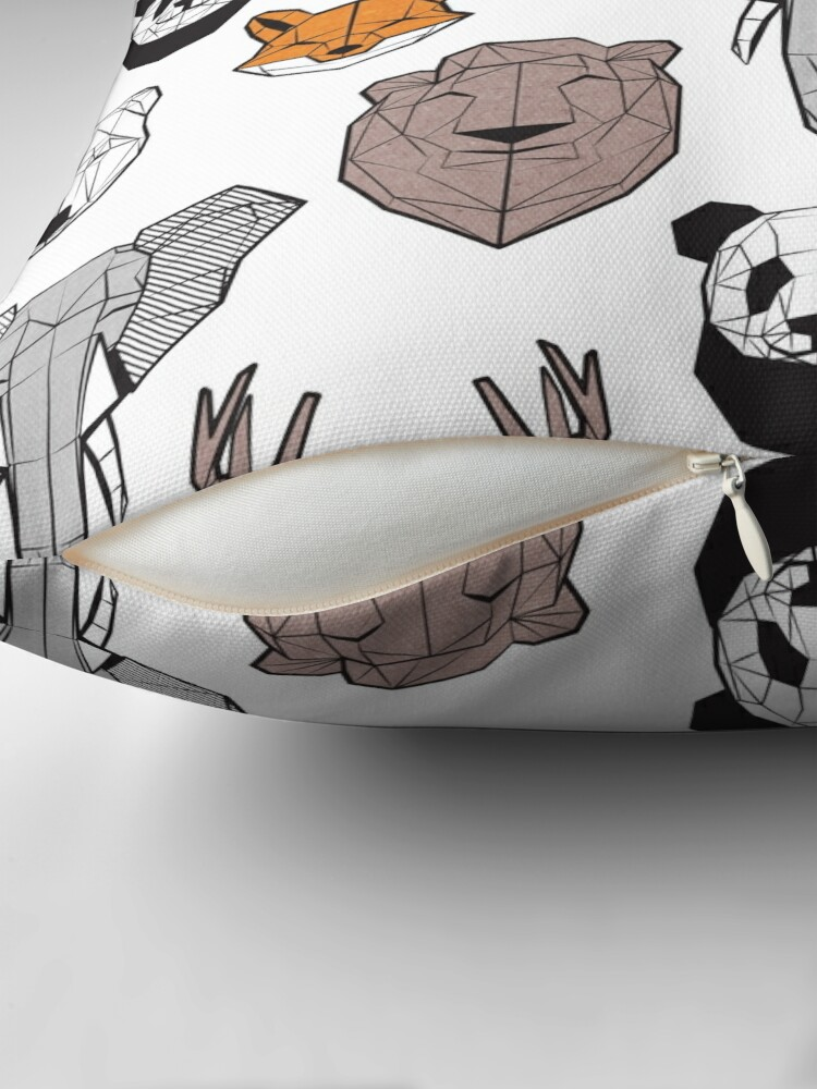 Alternate view of Friendly geometric animals // white background black and white orange grey and taupe brown animals Throw Pillow