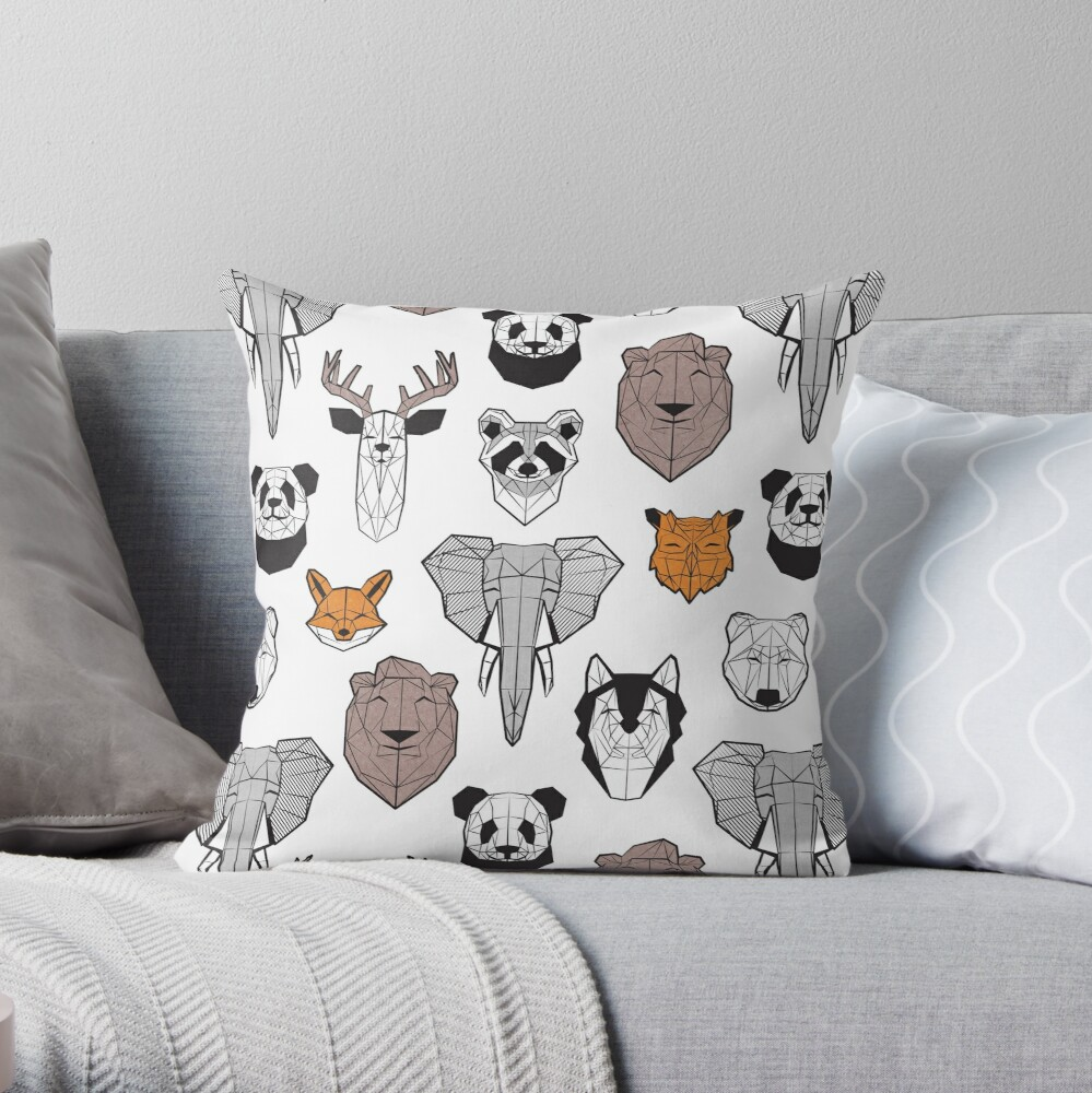 Friendly geometric animals // white background black and white orange grey and taupe brown animals Throw Pillow