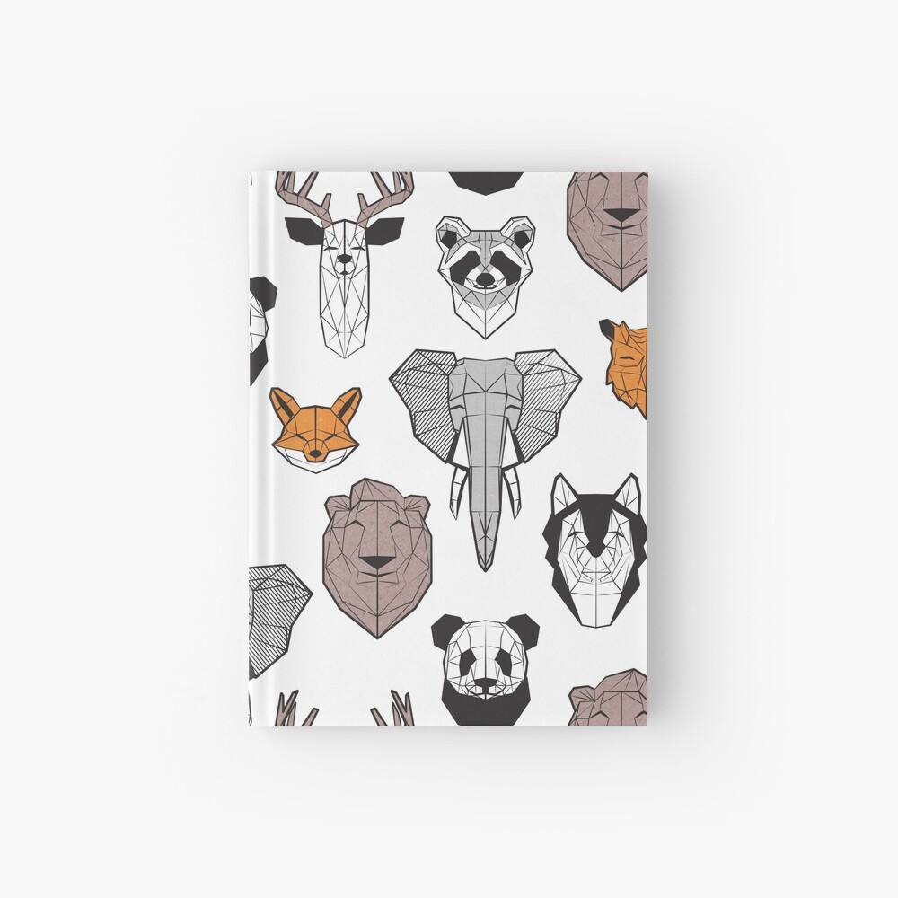 Friendly geometric animals // white background black and white orange grey and taupe brown animals Hardcover Journal